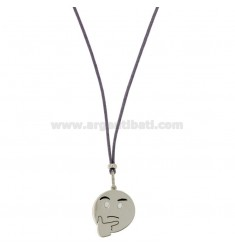 COLLANA IN SETA LILLA CON EMOTICONS PENSIEROSO MM 17 IN ARGENTO RODIATO TIT 925‰ E SMALTO