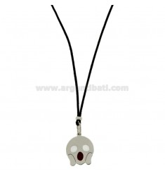 COLLANA IN SETA NERA CON EMOTICONS PAURA MM 17 IN ARGENTO RODIATO TIT 925‰ E SMALTO