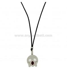 KETTE IN BLACK SILK MIT FEAR EMOTICONS 17 MM Silber rhodiniert TIT 925 ‰ und Glasuren