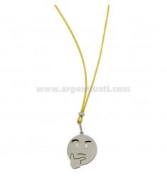 COLLAR con caritas de seda amarilla cuidadosamente 17 MM plata del rodio TIT 925 ‰ y glaseado