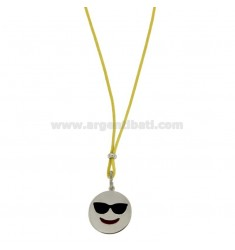 NECKLACE WITH YELLOW SILK EMOTICONS HOLIDAY 17 MM SILVER RHODIUM TIT 925 ‰ AND GLAZE