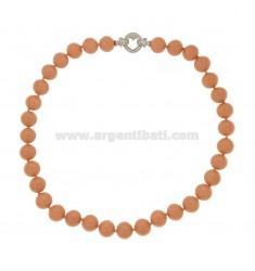 CORAL NECKLACE 12 MM PINK PASTA WITH CLOSURE IN HEART AG 925 RHODIUM TIT WITH PAVE &39ZIRCONS OF 48 CM