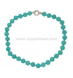 PASTA 12 MM TURQUOISE NECKLACE WITH CLOSURE IN HEART AG 925 RHODIUM TIT WITH PAVE &39ZIRCONS OF 48 CM
