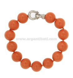 BRACELET CORAL PINK PASTA 14 MM WITH CLOSING IN AG TIT 925 RHODIUM WITH PAVE &39ZIRCONS OF 22 CM