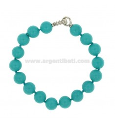 BRACELET TURQUOISE PASTA 10 MM WITH CLOSING IN AG TIT 925 RHODIUM WITH PAVE &39ZIRCONS OF 21 CM