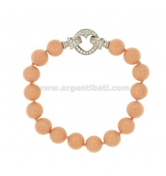 BRACELET CORAL ROSAMM 10 PASTA WITH CLOSE TO HEART IN AG TIT 925 RHODIUM WITH PAVE &39ZIRCONS OF 20 CM