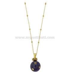CALLING ANGELS PENDANT 20 MM BRONZE WITH POLISH AND ZIRCONIA PURPLE STAR WITH CHAIN CABLE AND BALLS MM 3 CM 90 PLATED GOLD