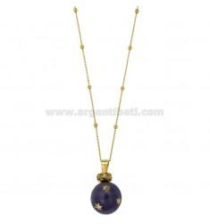 ÁNGELES DE LLAMADAS DE BRONCE colgante de 20 MM con el polaco y circonio estrella púrpura con cadena BOLAS Y MM 3 CM 90 DORADO