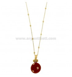 CALLING ANGELS PENDANT 20 MM BRONZE WITH POLISH RED STARS AND ZIRCONIA WITH CHAIN CABLE AND BALLS MM 3 CM 90 PLATED GOLD