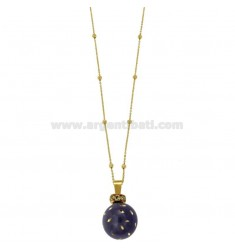 CALLING ANGELS PENDANT 20 MM BRONZE WITH ENAMEL PURPLE DOTS AND ZIRCONIA WITH CHAIN CABLE AND BALLS MM 3 CM 90 PLATED GOLD