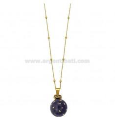 ÁNGELES DE LLAMADAS colgante de 20 MM DE BRONCE con esmalte puntos púrpuras y circonio con cadena BOLAS Y MM 3 CM 90 DORADO