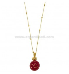 CALLING ANGELS PENDANT 20 MM BRONZE WITH POLISH PINK DOTS AND ZIRCONIA WITH CHAIN CABLE AND BALLS MM 3 CM 90 PLATED GOLD