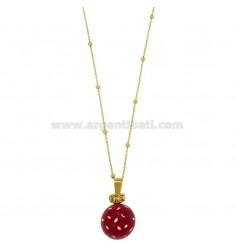 ÁNGELES DE LLAMADAS DE BRONCE colgante de 20 MM con esmalte rosa puntea y circonio con cadena BOLAS Y MM 3 CM 90 DORADO