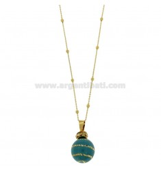 CALLING ANGELS PENDANT 20 MM BRONZE WITH POLISH Turquoise SPIRAL AND ZIRCONIA WITH CHAIN CABLE AND BALLS 3 MM GOLD PLATED 90 CM