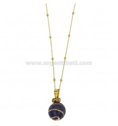 CALLING ANGELS PENDANT 20 MM BRONZE WITH POLISH AND ZIRCONIA PURPLE SPIRAL CHAIN CABLE AND BALLS MM 3 CM 90 PLATED GOLD