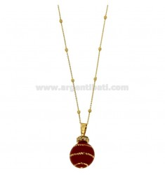 CALLING ANGELS PENDANT 20 MM BRONZE WITH POLISH RED SPIRAL AND ZIRCONIA WITH CHAIN CABLE AND BALLS MM 3 CM 90 PLATED GOLD