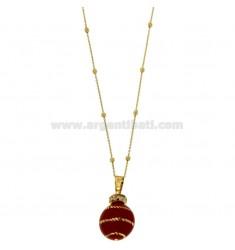 ÁNGELES DE LLAMADAS colgante de 20 MM DE BRONCE CON ESPIRAL Red de esmalte y circonio con cadena BOLAS Y MM 3 CM 90 DORADO