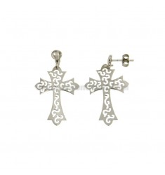 EARRINGS GLASS CROSS THROUGH MM 21x28 SILVER RHODIUM TIT 925 ‰