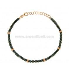 PULSERA DE UNA LAVADORA 3,5 mm de Ematite verde y plata chapado en oro rosa TIT 925 ‰ del 18 al 21 CM
