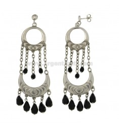 EARRINGS ZINGARA MM 80X27 SILVER RHODIUM TIT 925 ‰ AND CRYSTAL FACETED