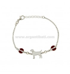 ROLO BRACELET 'WITH DOG AND LADYBIRDS IN SILVER RHODIUM-PLATED TIT 925 ‰ ZIRCONS AND ENAMEL 18 CM