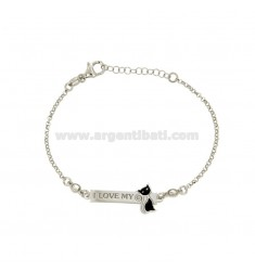 ROLO BRACELET WITH CAT AND PLATE WITH ENGRAVED I LOVE MY IN SILVER RHODIUM TIT 925 ‰ ZIRCONIA AND ENAMEL 18 CM