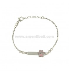 ROLO BRACELET 'WITH IMPRINT AND PLATE IN SILVER RHODIUM TIT 925 ‰ ZIRCONS AND ENAMEL 18 CM