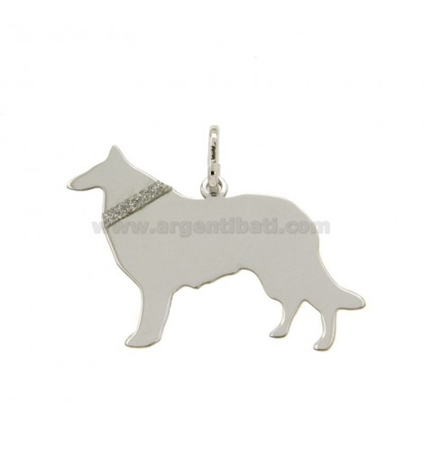 7dc64d5a45 CIONDOLO CANE COLLIE MM 24X30 IN ARGENTO RODIATO TIT 925‰