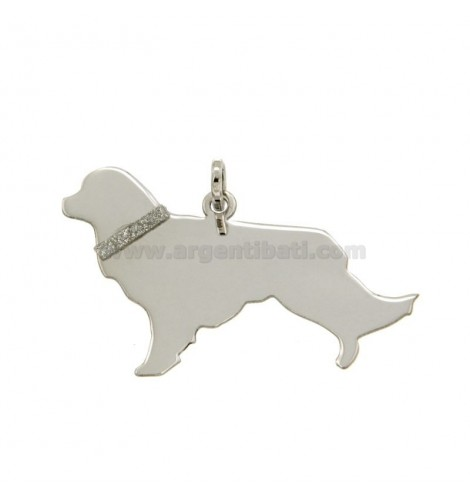 20c7c0f0e3 CIONDOLO CANE GOLDEN RETRIVER MM 21X36 IN ARGENTO RODIATO TIT 925‰