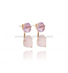 EARRING DOUBLE SASSOLINO HYDROTHERMAL STONES AND PINK PURPLE 29 11 SILVER PLATED ROSE GOLD TIT 925