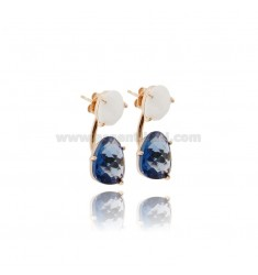 EARRING DOUBLE SASSOLINO HYDROTHERMAL STONE WHITE AND BLUE 33 1 SILVER ROSE GOLD PLATED TIT 925