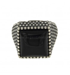 SQUARE RING 19x19 MM WITH MICRO AND ONYX SILVER BRUNITO TIT 925 ‰ ADJUSTABLE SIZE