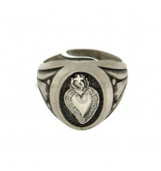 SACRED HEART RING 17x14 MM SILVER BRUNITO OXIDISED TIT 925 ‰ ADJUSTABLE SIZE