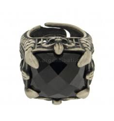 DRAGON SILVER RING WITH STONE BRUNITO TIT 925 ‰ ADJUSTABLE SIZE