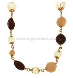 CORDÓN FANTASY 96 CM DE PLATA chapado en oro rosa TIT 925 ‰ perlas y piedras de COLOR