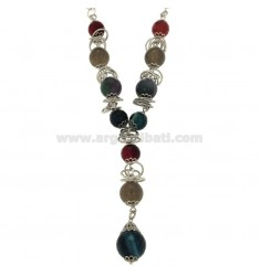 TIE NECKLACE 48 CM CHAIN ROUND SILVER RHODIUM TIT 925 ‰ WITH COLORED STONES