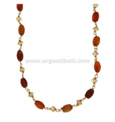 NECKLACE 46 CM IN SILVER ROSE GOLD PLATED TIT 925 ‰ WITH STONES CORNIOLA