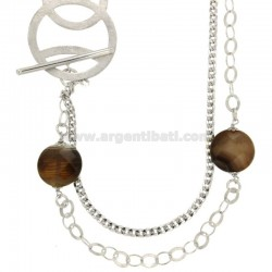 NECKLACE DOUBLE WIRE CHAIN 63 CM OVAL AND Curb SILVER RHODIUM TIT ...