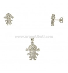 EARRINGS CHARM AND GIRL IN SILVER RHODIUM TIT 925 ‰ AND ZIRCONIA
