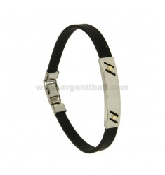 BLACK RUBBER BRACELET WITH PERFORATED PLATE TRANSVERSAL LINES IN STEEL WITH BILAMINE BRASS AND GOLD SCREWS