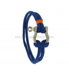 BRACELET DOUBLE ROPE ELECTRIC BLUE WITH CRICKET NAUTICAL CENTRAL AND STEEL INSERTS IN ROPE ORANGE