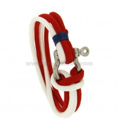 BRACELET DOUBLE ROPE WHITE AND RED BOAT WITH CRICKET CENTRAL AND STEEL INSERTS IN BLUE ROPE
