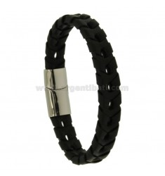 BRACELET IN BLACK WOVEN LEATHER 12 MM WITH CLOSING IN STEEL
