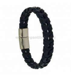 BRACELET WOVEN LEATHER BLUE 12 MM WITH CLOSING IN STEEL