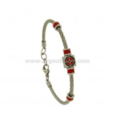 3 MM STEEL ROPE BRACELET WITH GLAZED WIND ROSE AND RED RUBBER ELEMENTS