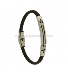 BRACELET IN BRAIDED BROWN LEATHER WITH STEEL PLATE MM 7