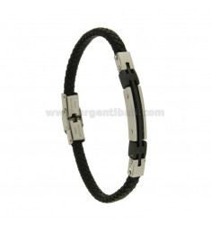 BRACELET IN BLACK WOVEN LEATHER WITH PLATE MM 7 STEEL TWO TONE PLATED RHODIUM AND RUTHENIUM