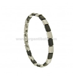 RECTANGLES BRACELET STEEL AND BLACK CERAMIC