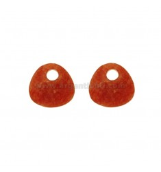 PAIR OF CREOLE TRIANGULAR 20x22 MM HOLE HIGH IN JADE COLOURED ORANGE