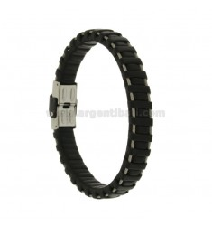 BRACELET IN BLACK LEATHER WITH WIRES AND CLOSING IN STEEL
